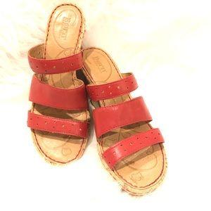 Born Cork Wedge Triple Strap Sandals size 7